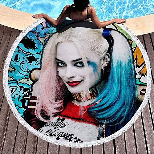 AMZJIEFU Harley Quinn Toalla de Playa Redonda de Microfibra Impresa Borla para Adultos niños Estera de Yoga Manta de Borla decoración del hogar