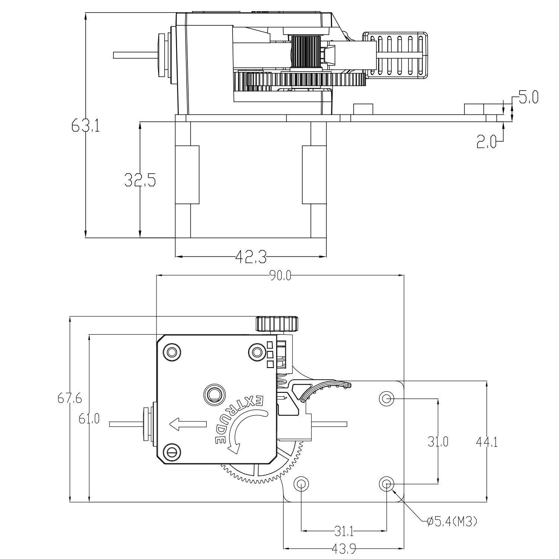 Transmission Ratio 3:1 Redrex Upgrading Bowden Extruder Parts for CR10,Ender 3 Series DIY 3D Printer Compatible with V5 and V6 J Head Hotend