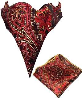 Men's Paisley Jacquard Woven Self Cravat Tie Ascot Pocket Square Set (Red)