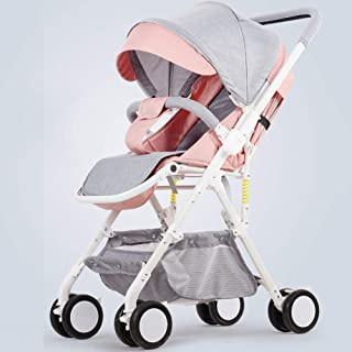 Lätt barnvagn med vändbart styre, bärbar hopfällbar vagn resa buggy från födseln till 15 kg–d