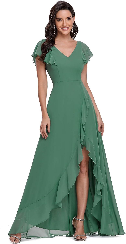 Ever-Pretty Women's Irregular V-Neck A-line Maxi Chiffon Bridesamid Dresses with Sleeves 0239