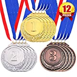 Swpeet 12Pcs Metal Gold Silver Bronze Award Medals with Ribbon, Olympic Style Winner Medals for Kids Children's Events, Classrooms, Office Games and Sports - 1st 2nd 3rd Place