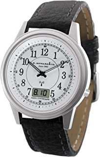 Stainless Steel Atomic Watch - Leather Band Water Resistant w/Cedar Giftbox