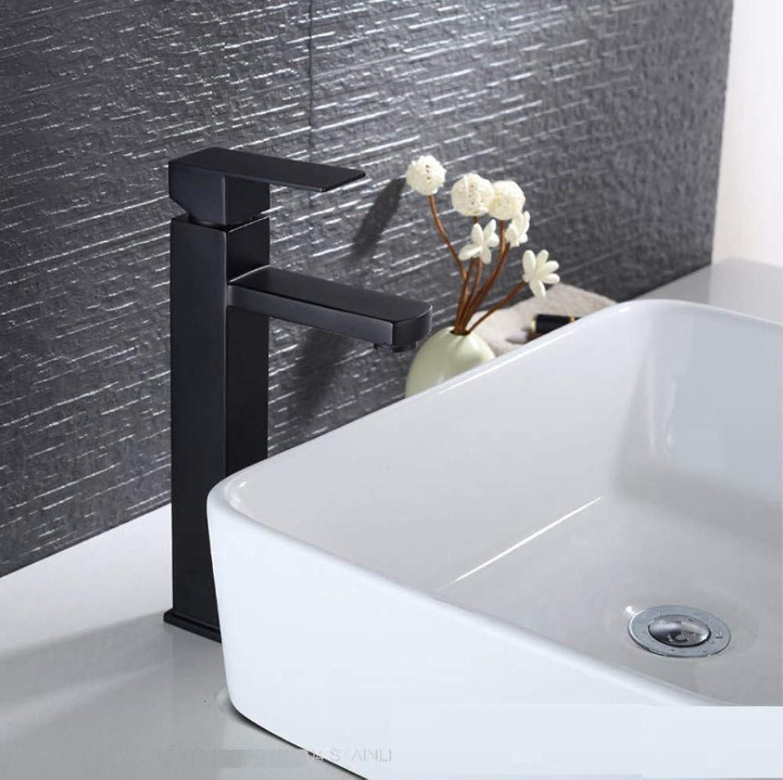 ROKTONG Matt Black Stainless Steel Bathroom Faucet Basin Mixer Square Tap Bathroom Sink Basin Mixer Tap,B