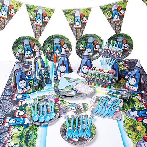 INTVN 90 Stücke Partygeschirr Set Kindergeburtstag Deko mit Teller Becher Servietten Tischdecke Trinkhalme Messer Gabeln Löffel Wimpel für Party und Kindergeburtstag für 6 Personen