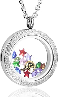 Living Memory Floating Charms Stone Storage Silver Rose Gold Rainbow Color Round Clear Glass Locket Pendant Necklace 25mm/30mm Glossy Matte Stainless Steel
