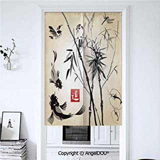 AngelDOU Bamboo Leaves Summer Automatic Closing Curtains Valances Bird and Fish Traditional Japanese Painting Bamboo Oriental Art Landscape Hand Drawn Ink Decorative Door Screen Part 39.3x59 inches