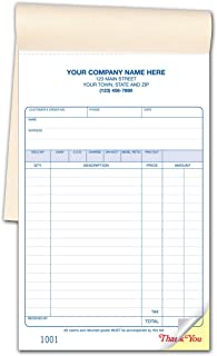 CheckSimple Multi-Purpose Sales Receipt Book, Customized Large Format, 2-Part Forms, White, 5 1/2 x 8 1/2 (250 Forms)