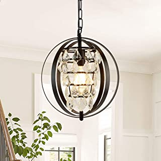 Depuley Sphere Crystal Chandelier Light Fixture, Industrial Orb Crystal Globe Pendant Lights, Oil Rubbed Bronze Adjustable Hanging Ceiling Light for Kitchen, Dining Room, Bedroom