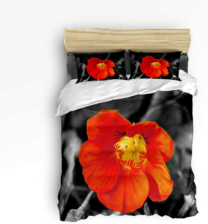 USOPHIA Twin Size, 4 Pieces Bed Sheets Set, Vintage Red Poppy Floral 3D Print Floral Duvet Cover Set