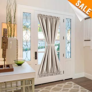 Lazzzy Greyish Beige French Door Panel Curtain Room Darkening Linen Textured Curtain Thermal Insulated 1 Tie Back Included 1 Piece 72 Inch