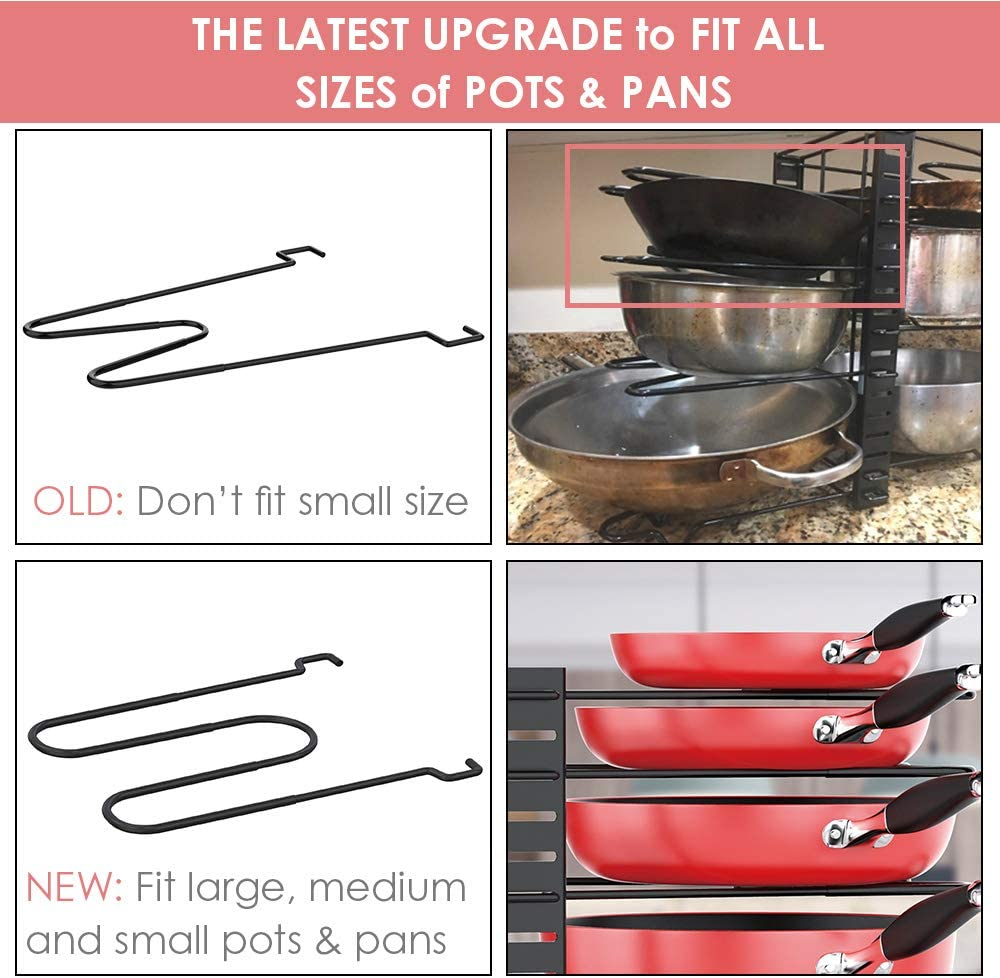 Buy Pan Organizer Rack For Cabinet Pot Rack With 3 Diy Methods Adjustable Pots And Pans Organizer Under Cabinet With 8 Tiers Large Small Pot Organizer Rack For Cabinet Kitchen Cookware
