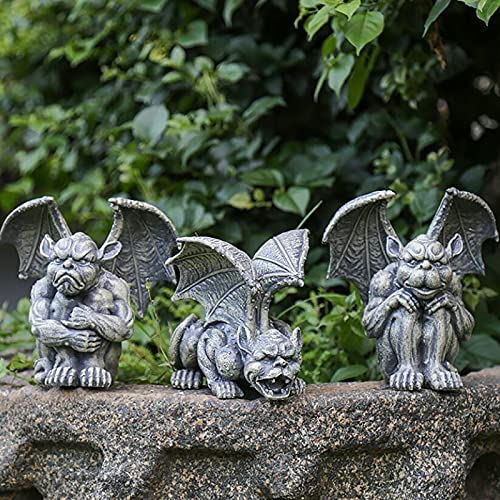 Monster Garden Statues,Resin Gargoyle Outdoor Statue Large Winged Dragon Sculptures Gothic Animals Statues,Yard Art Decor Backyard Porch Patio Lawn Balcony Statues-I One Size