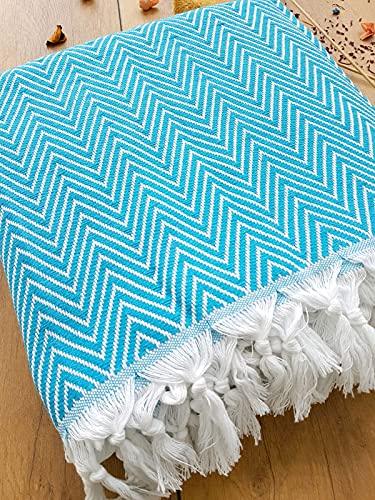 Damla Tagesdecke Überwurf Decke - Wohndecke ideal für Bett und Sofa, 100% Baumwolle - handgefertigte Fransen, 200x240cm (Türkis)