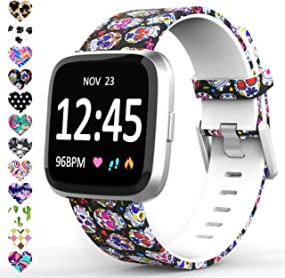 TreasureMax Compatible with Fitbit Versa Bands for Women/Men,Silicone Fadeless Pattern Printed Replacement Floral Bands for Fitbit Versa Lite SE Watch