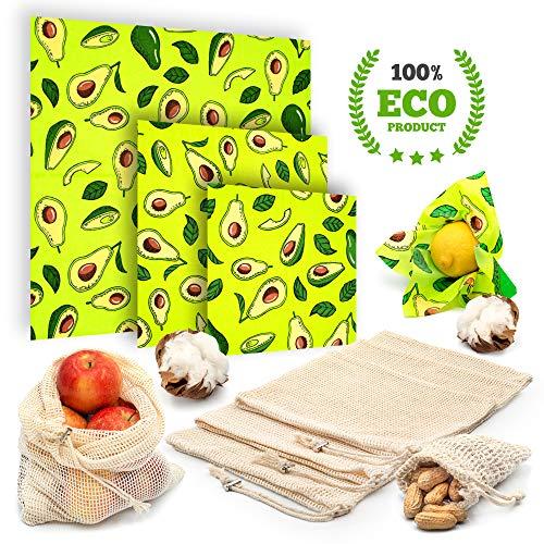 Wachspapier für Lebensmittel & wiederverwendbare Gemüsebeutel | Zero Waste Alternative zu Frischhaltefolie Set| Bienenwachstücher Bio & Gemüsenetz | Bienenwachstuch | Wachstücher | Beeswax Wrap
