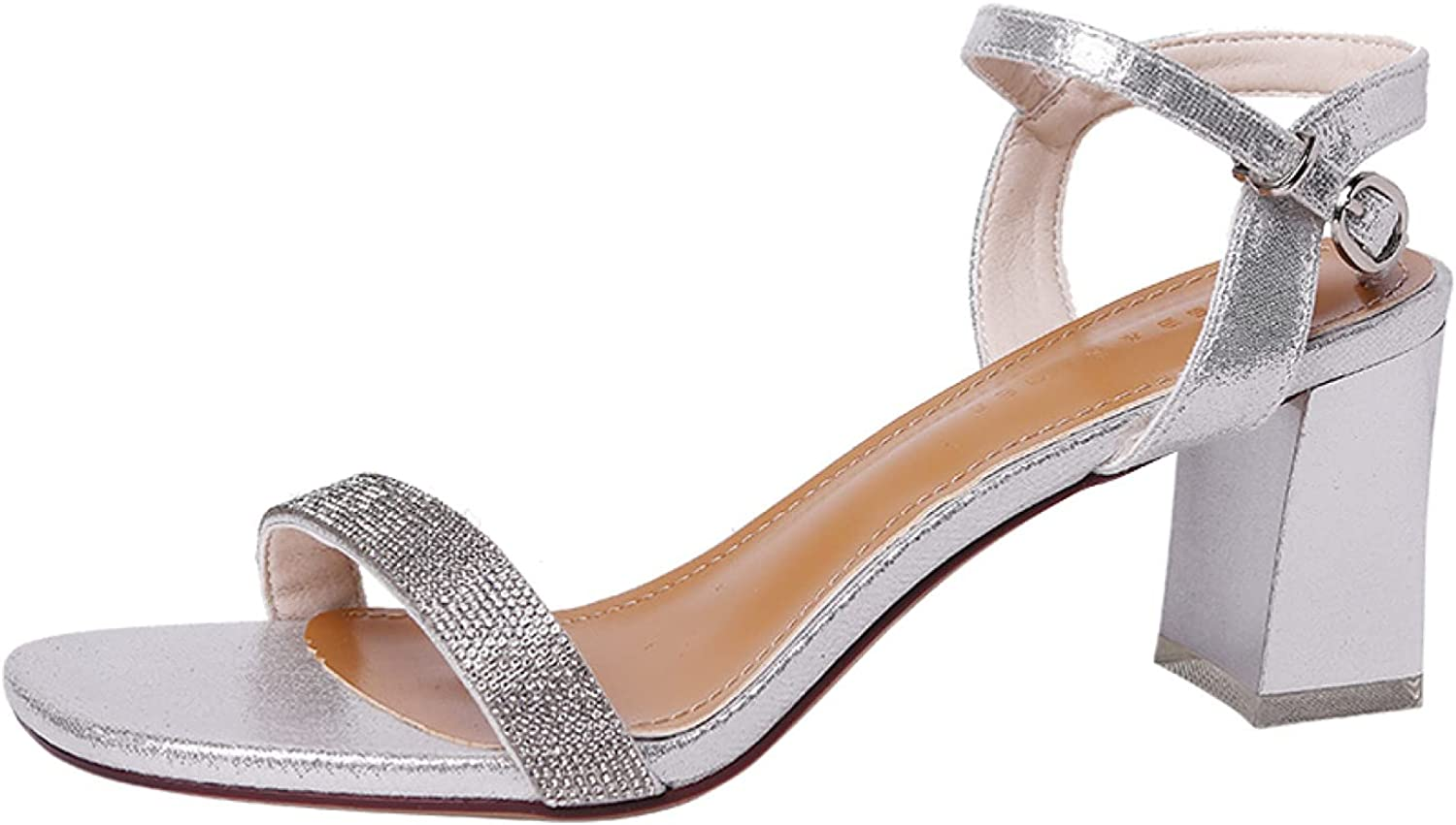 Woman's Glitter Open Toe Louisville-Jefferson OFFicial store County Mall Breathable High Blo Ankle Strap Sandals