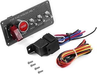 JesseBro76 Carbon Fiber Racing Car 12V LED Ignition Switch Panel Engine Start Push Button Black