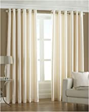 GOOD PRICE Heavy Curtains for Window 5 feet Set of 2 Plain (60 Inch X 48 Inch) Faux Silk with Eylets - Creame