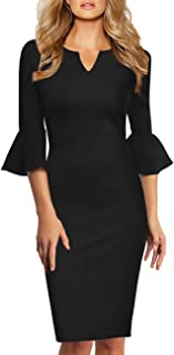 ecfb9ee937 GlorySunshine Women 3 4 Flare Bell Sleeves Work Bodycon Pencil Dress  Vintage Cocktail Party Dresses