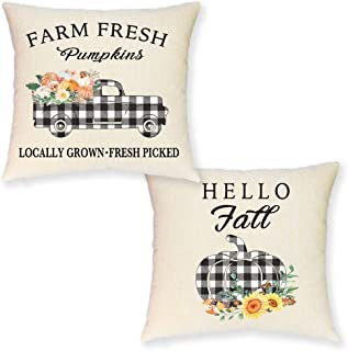 JYNHOOR Set of 2 Fall Pillow Covers 18x18 Inches –Buffalo Check Pumpkin Truck Pillow Covers for Home Decor-Autumn/Harvest/Thanksgiving Farmhouse Decorative Pillow Cover