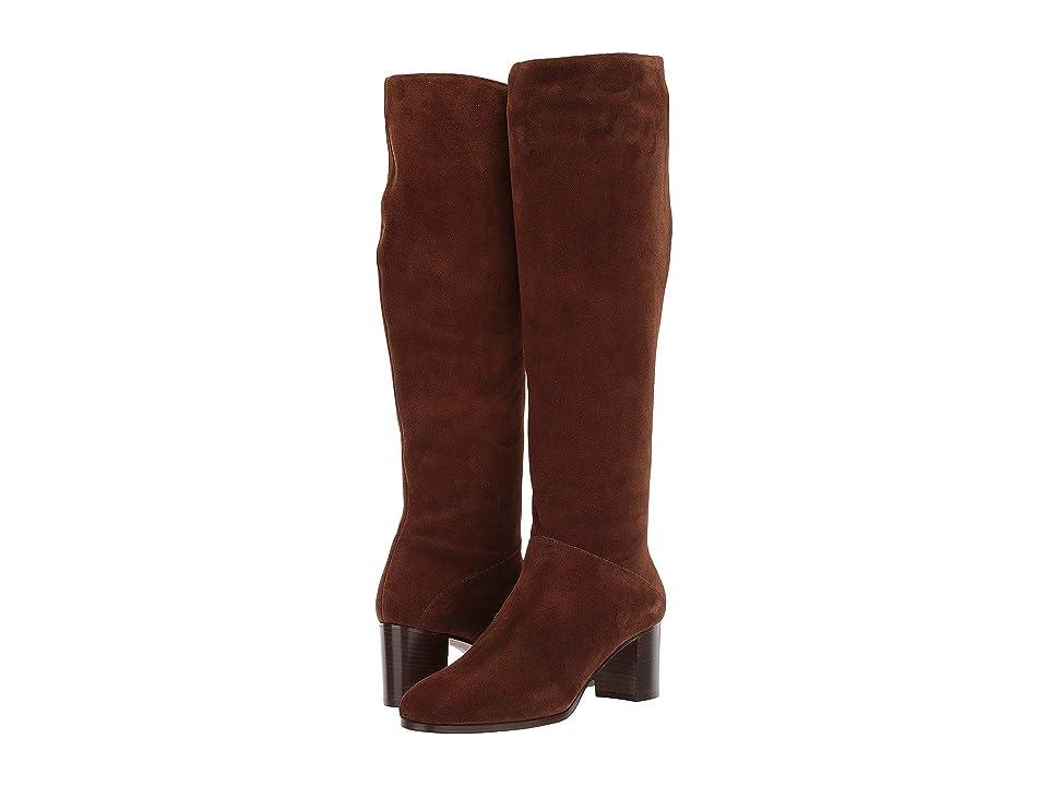 L.K. Bennett Esti Block Heel Slouch Boot (Tobacco) Women