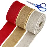 """Supla 30 Yards 2.5"""" Wide Christmas Natural Red Natural White Jute Burlap Wired Ribbon Rolls Holiday Rustic Decorative Gift Bow Ribbon for Christmas Wedding Farmhouse Tree Wreath Floral Decoration"""