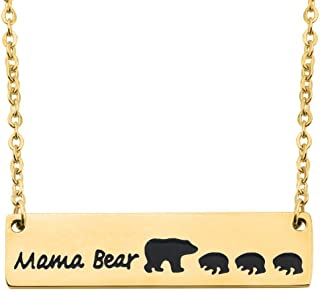 Gold Plated Sweet Mama and Cub Bear Bar Necklace Gift for Mom Grandma Wife