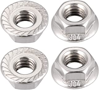 5//16-18 Hexagonal Safety Nuts with Serrated Flange 304 Stainless Steel 10 Pieces