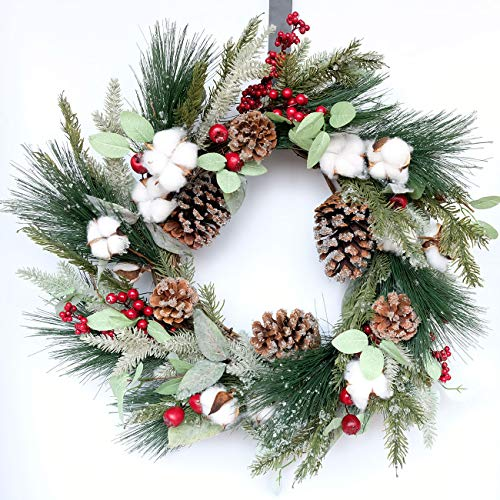 idyllic 22 Inches Wreath, Christmas-Vibe Wreath for Front Door Wall Window Party Décor