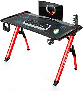 INSORIA Ergonomic Durable R Shaped Gaming Desk PC Gaming Desk, Steel Computer Gaming Desk Table with Free Mousepad,DVD Shelf and Cupholder (RED)