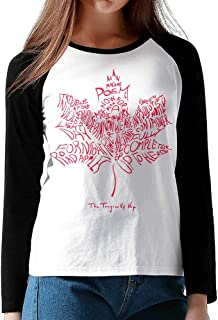 Rose The Tragically Hip Canada Flag Women's Raglan Long Sleeve T Shirts Round Neck Baseball T-shirt