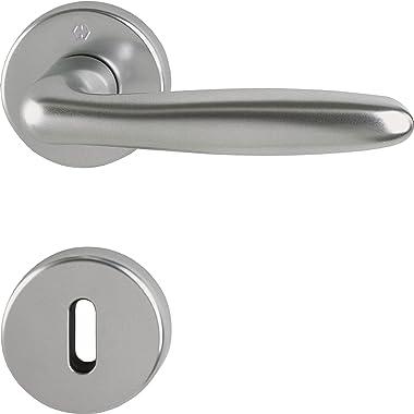Hoppe Verona Door Handle Set with Rosette BB Deadlock Stainless Steel Effect, 2950886