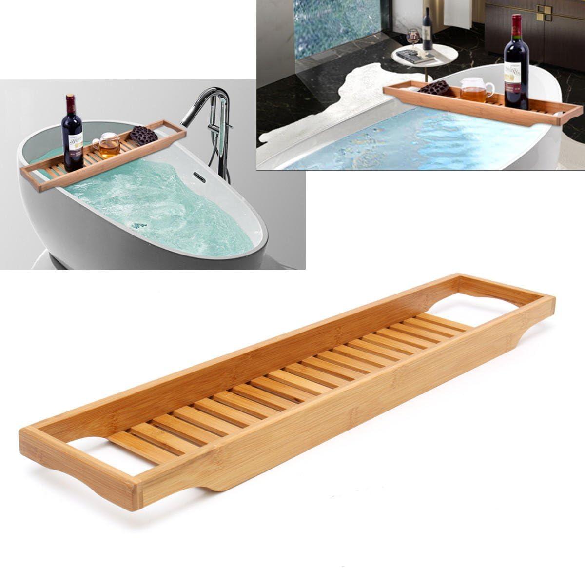 JIEIIFAFH Bathroom Bath Fresno Mall Shelf Bamboo Tray Holder New mail order Caddy Tub Wine
