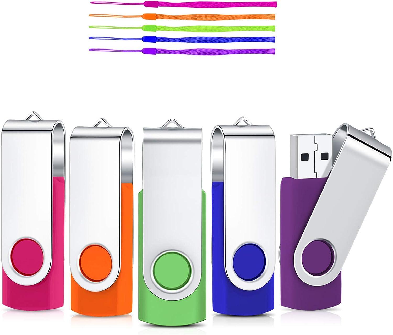 2GB Memorias USB 5 Piezas Unidad Flash USB 2.0 Stick Pendrives Giratoria Diseño Flash Drive Almacenamiento Externo de Datos con indicador LED (5 coloresRosa Naranja Verde Azul Violeta)
