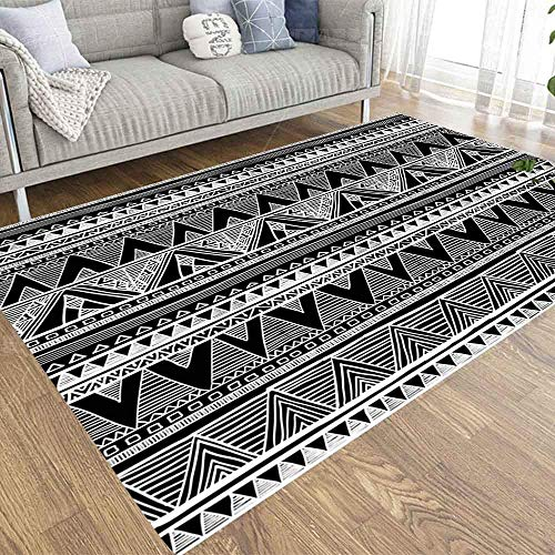 VBHGHFF 2X3 Area Rugs Seamless Pattern Winter Landscape Houses in Doodle Style Artistic Black White Country Side Design Element Carpet Suitable for Children Pets for Home Living Room Indoor Décor