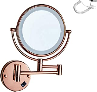 LED Lighted Makeup/Vanity Mirror, 3X Magnifying Bathroom Mirror Wall Mount Cosmetic Mirror Shaving in Bedroom or Bathroom Powered by Plug,Rose Gold_8inch