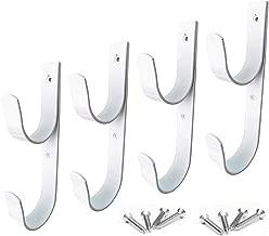 4 PCS Set Wide Pool Pole Hangers Heavy Duty White Aluminium Holder Hooks with Screws Perfect Hook Holders for Swimming Pool,Telescopic Poles,Skimmers,Nets Brushes,Vacuum Hose,Garden Equipment Etc