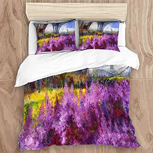 88888 printed duvet cover,oil paris tour eiffel france europe cityscape streetscape violet,microfiber quilt cover(200x200cm),Pillowcase 50x80cm