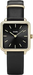 CLUSE LA TÉTRAGONE Gold Black Black CL60008 Women's Watch 29mm Square Dial Leather Strap Minimalistic Design Casual Dress Japanese Quartz Elegant Timepiece