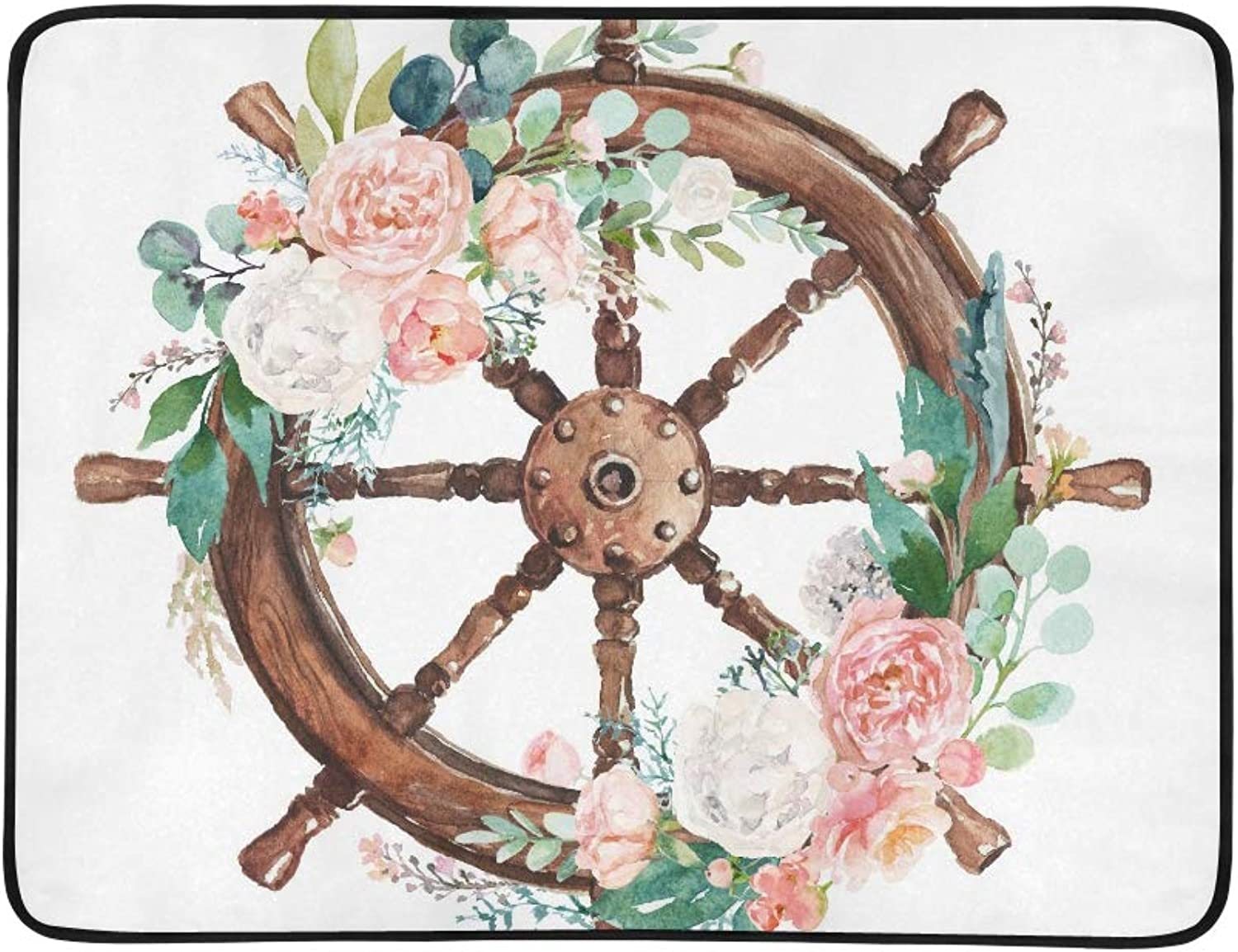 Watercolor Hand Drawn Nautical Marine Floral Ill Pattern Portable and Foldable Blanket Mat 60x78 Inch Handy Mat for Camping Picnic Beach Indoor Outdoor Travel