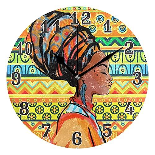 Lewiuzr Reloj de Pared Mujer Africana Bobo étnico silencioso Reloj Redondo sin tictac para el hogar Sala de Estar Cocina Oficina Escuela decoración