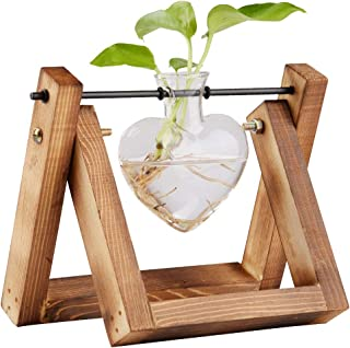 Plant Terrarium With Wooden Stand, Modern Air Planter Heart Glass Planter Bulb Vase for Hydroponics Plants Flowers, Home Garden Office Wedding Decor