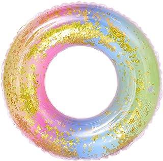 Wenxiaw Arco Iris Anillo de Natación Neumáticos de Natación Brillo Anillo de Natación para Juguete de Piscina Flotador de Piscina Rueda para Playa Colchón de Playa Juegos de Fiestas de Piscina 85cm