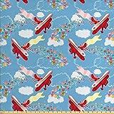 Ambesonne Flugzeug-Stoff von The Yard, Retro Biplanes mit