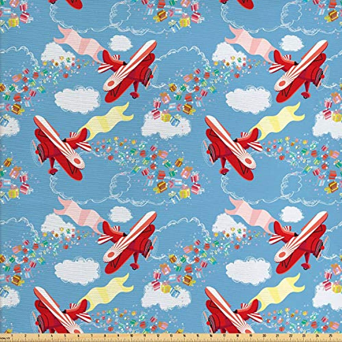 Ambesonne Airplane Fabric by The Yard, Retro Biplanes with Pennants Throwing Present Boxes Announcement Celebration Art, Decorative Fabric for Upholstery and Home Accents, 3 Yards, Multicolor