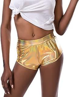Liliam Women Shiny Metallic Hot Pants Yoga Dance Rave Shorts Club Wear
