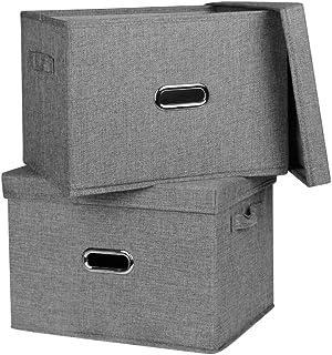 収納ボックス インナーボックス フタ付き 収納ケース 小物収納 インナーケース 取っ手付き (グレー, M)