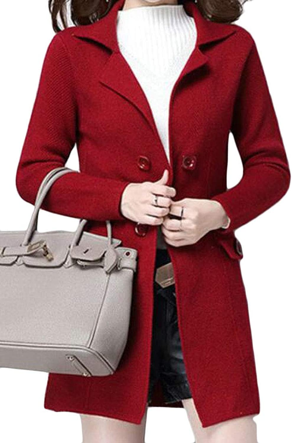 SELX Women DoubleBreasted Notched Lapel Ribbed Kintted Long Jacket Closer Overcoat