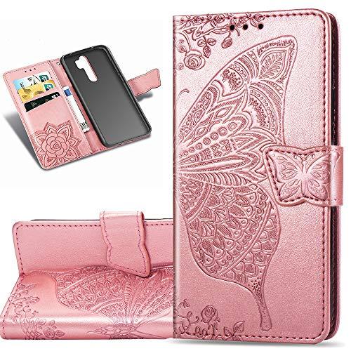 COTDINFOR Etui für Xiaomi Redmi Note 8 Pro Hülle PU Leder Schutzhülle Magnet Tasche Flip Handytasche im Bookstyle Kartenfächer Lederhülle für Xiaomi Redmi Note 8 Pro Flower Butterfly Rose Gold SD